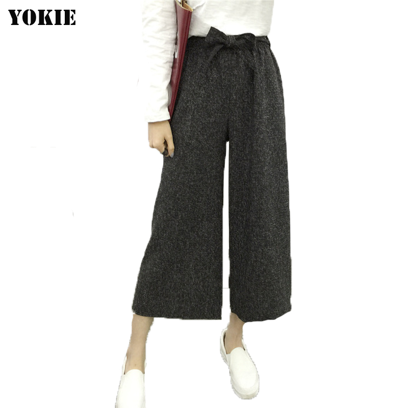 Summer style 2016 new fashion   Wide     leg     pants   women loose high elastic waist solid linen cotton woman trousers Plus size 521-2