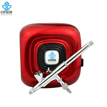 OPHIR Professional Makeup Airbrush Kit with Red Mini Air Compressor 0.2mm Airbrush Sprayer for Cosmetic_AC123R+AC073