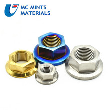 цена на Titanium Nuts M12 M14 M16 M18 for Motorcycle Modified Flange Nut Grade 5 Burned Blue and Ti/Gold Color 2/6pcs Ti Fastener