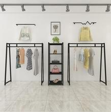 Tieyi Retro Clothing Shop Exhibition Rack, Golden Mens and Womens Hanging Rack European Landing Clothes