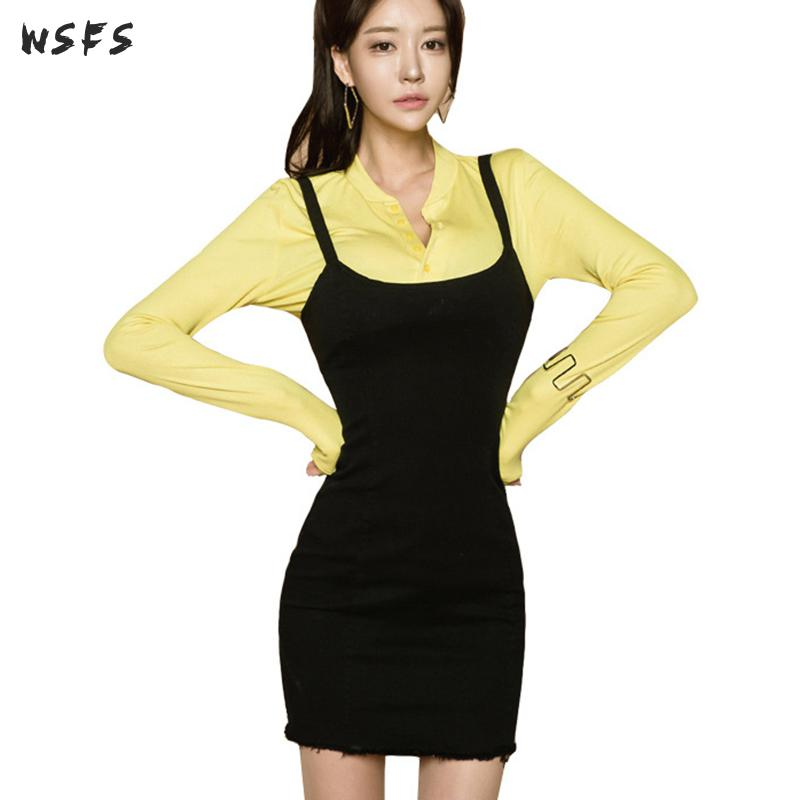 2 Pieces Set Autumn Womens Dresses Yellow Shirt Long Sleeve Tops Bodycon Black Braces Wrap Skirts Ladies Sexy Party Club Dress Great Varieties