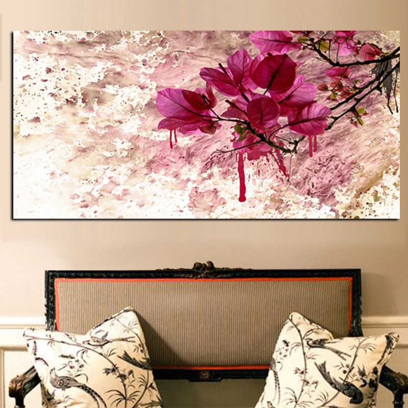Modern Abstract Red Flower Posters and Prints Landscape Oil Painting on Canvas Cuadros Pictures on the Wall Art for Living Room