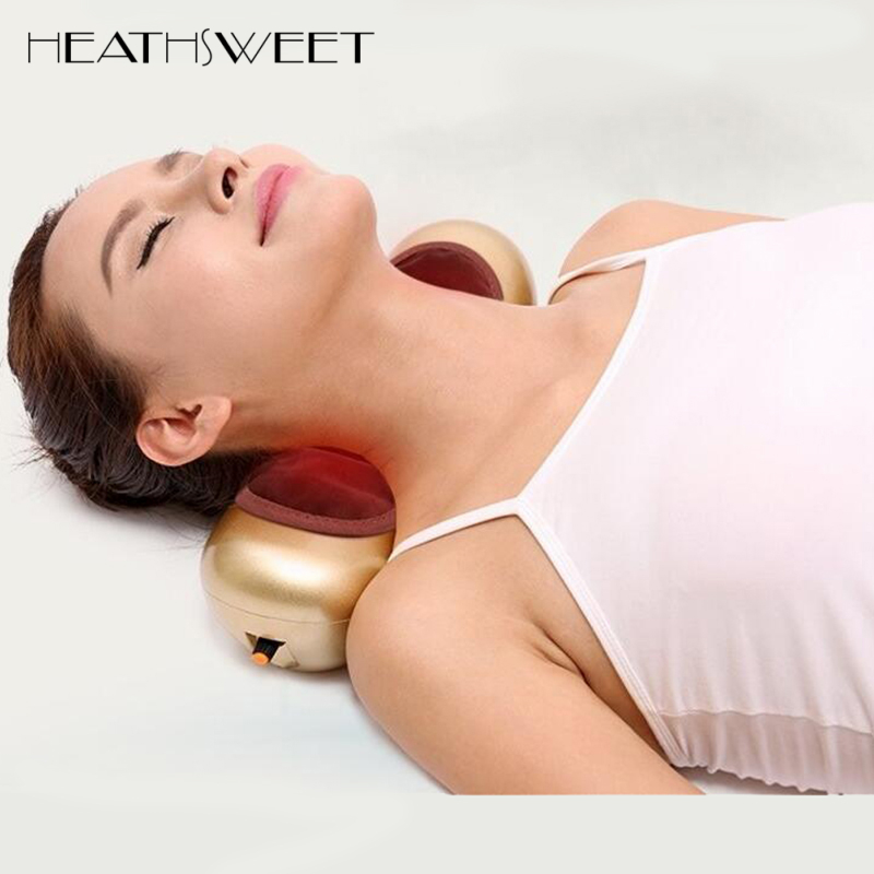 Healthsweet Moxibustion Gold Electric Cervical Massage Pillow Home Portable Massager Pillow For Neck U-shaped Treatment Pillows healthsweet u shape electric massage