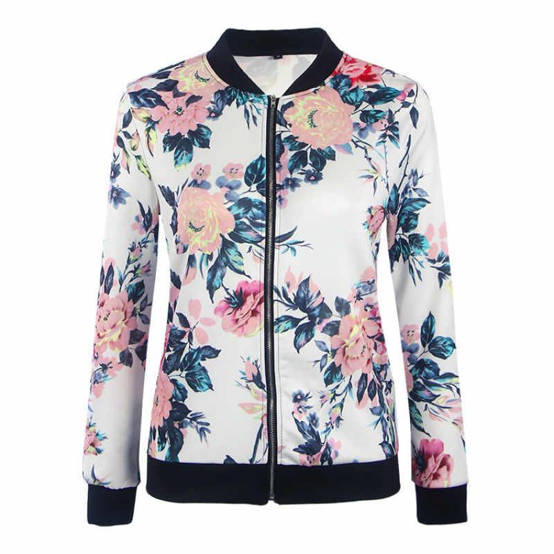 483dfa2d634 ... Весенние куртки с цветочным принтом женские одноцветное пальто на молнии  куртка-бомбер Повседневная Женская куртка ...