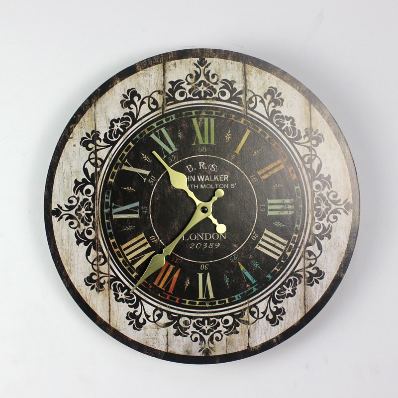 Large Size Wall Clocks Vintage Flower Wooden Wall Clock Kitchen Antique Shabby Chic Retro Home Decor