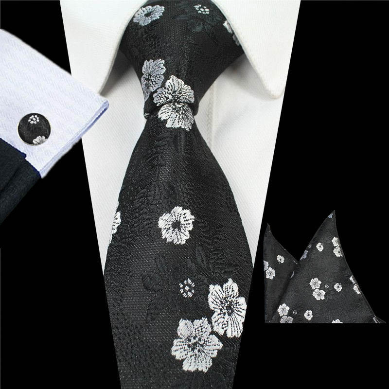 Gray Floral Black Paisley Tie Hanky Cufflinks Sets Mens 100% Silk Ties for men Formal Wedding Party Groom men shirt accessories