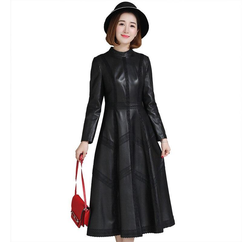 Luxus Echte echtem Schaffell Leder Wildleder Mantel Jacke einteiliges Kleid Frühling Herbst Frauen Oberbekleidung X-Langes Gewand LF9024