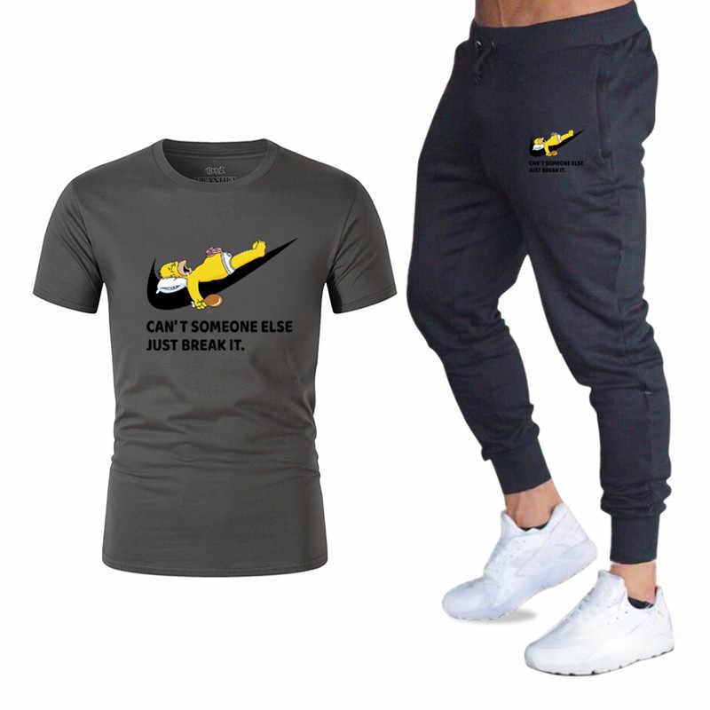 Męskie zestawy Simpson dres mężczyźni koszulki z krótkim rękawem + spodnie dwa kawałki ustawia dres codzienny męskie/kobiety na co dzień Tshirt siłownie spodnie dresowe męskie