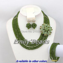 Top Quantily African Costume Necklace Set 5 Rows Crystal Beads Jewelry Set Olive Green Nigerian Wedding Beads Jewelry Set AEJ092