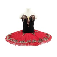 Girls Don Quixote black red pre-professional ballet tutu stage costume dress women&adult ballerina pancake tutu for kids