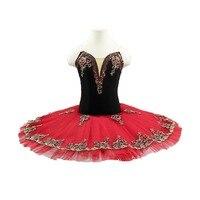 Girls Don Quixote black red pre professional ballet tutu stage costume dress women&adult ballerina pancake tutu for kids
