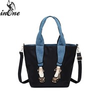INONE Tote Handbag Crossbody Messenger Should Bags for Women 2018 Embrodiery Leopard Shoes Legs Denim Purse Ladies Hand Bags