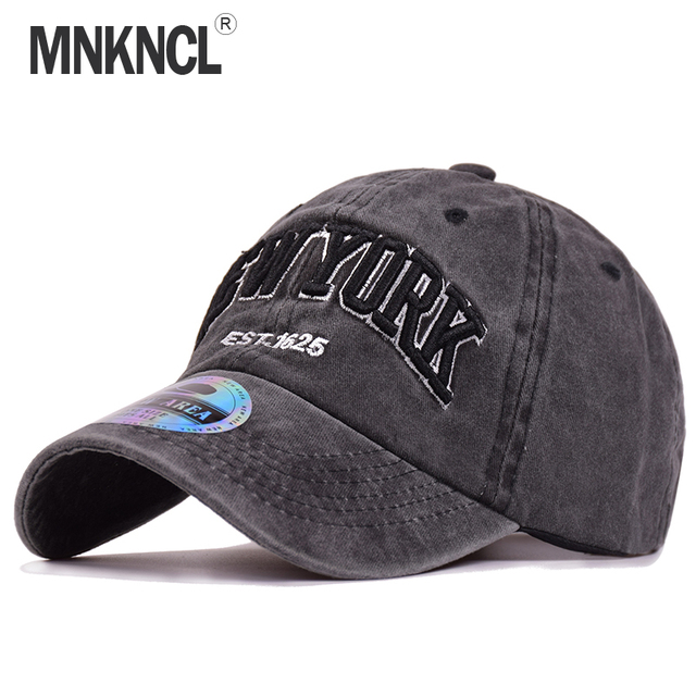 High Quality Washed Baseball Cap 100% Cotton Snapback Cap NEW YORK  Embroidery Hat Men Women fb3a92f19d7b
