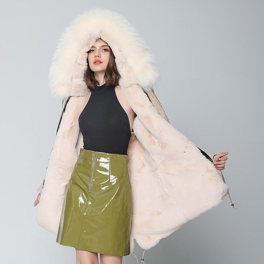 D'hiver Vêtements Laveur Streetwear Femmes Longue De 2019 Véritable Raton Veste Oftbuy Nouvelle Réel Grand Parka Kaki Manteau Col Fourrure 7qtcwWTU