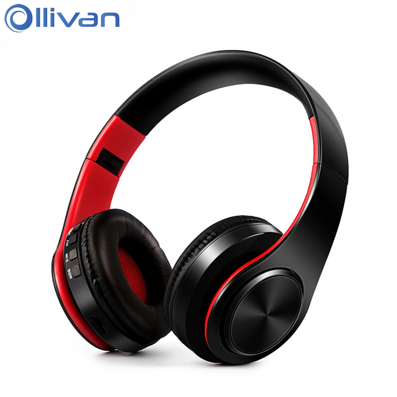 Ollivan Foldable Bluetooth Headphone Universal TF/SD Card Wireless Headphones Portable Sports Headset Stereo Earphones With Mic high quality csr8635 chipset stereo headphone with mic speaker headset foldable bluetooth 4 1 headphones