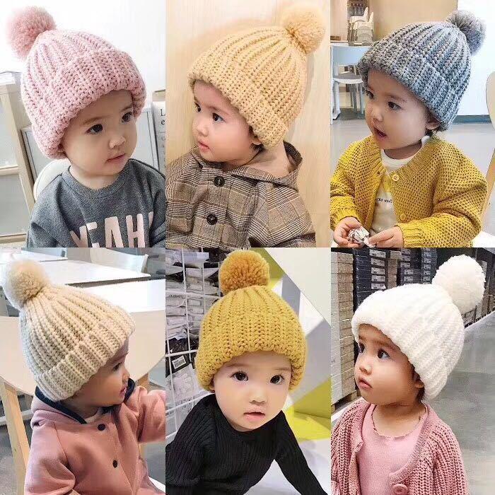 Новинка 2017 года ребенок шерстяная шапочка мяч шапка толстые зимние теплые Симпатичные конфеты сплошной цвет шляпа