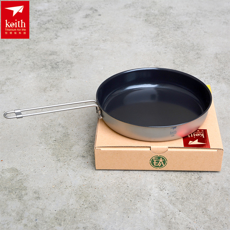 Keith 1L Folding Handle Non-stick Frying Pan Camping Cookware Titanium Outdoor Camping Picnic Hiking Pan Lightweight Ti8150 keith ti1600 lightweight titanium hanging chains diy 100pcs accessories