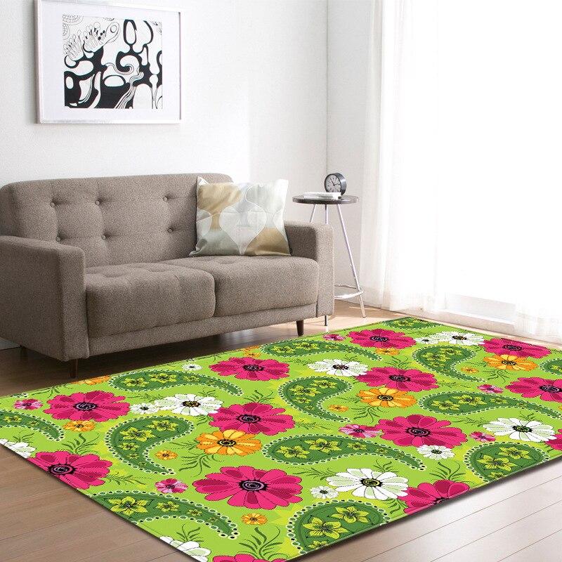Coloré fleur plante peinture tapis pour salon chambre Floral tapis canapé Table tapis de sol enfants tapis Yoga Pad Burrito couverture