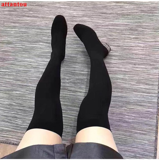 Newest fashion elastic over-the-knee boots bling bling rhinestone decor square heel woman long boots pointed toe female shoes
