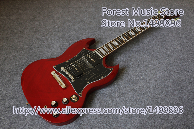 Vente chaude chinois sg électrique guitars avec p-90 micros comme photos gaucher personnalisé disponible
