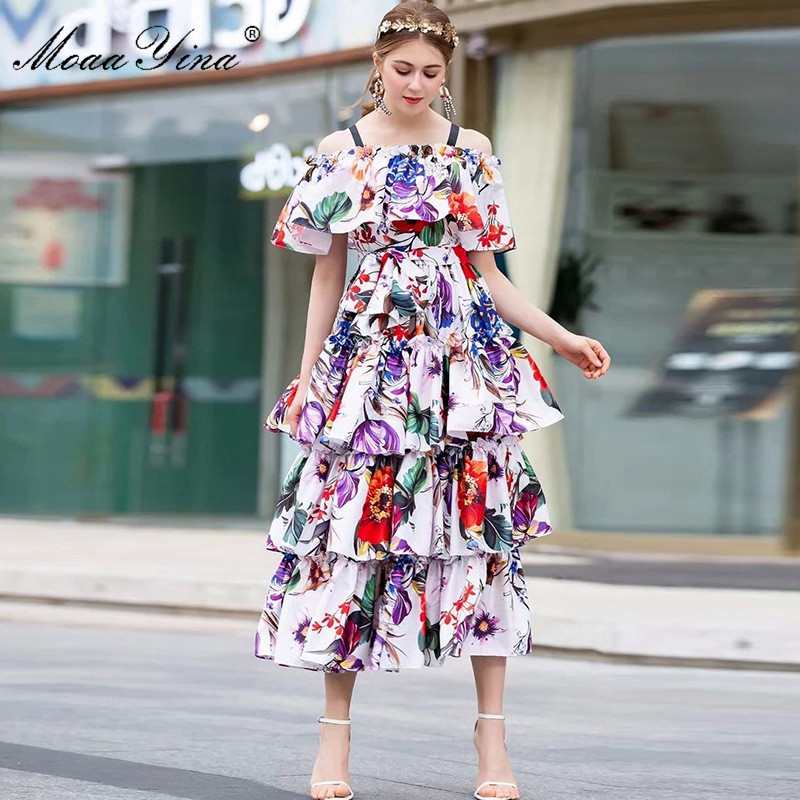 Moaayina 패션 디자이너 런웨이 드레스 봄 여름 여성 드레스 플로랄 프린트 캐스 케이 딩 프릴 홀리데이 드레스-에서드레스부터 여성 의류 의  그룹 3
