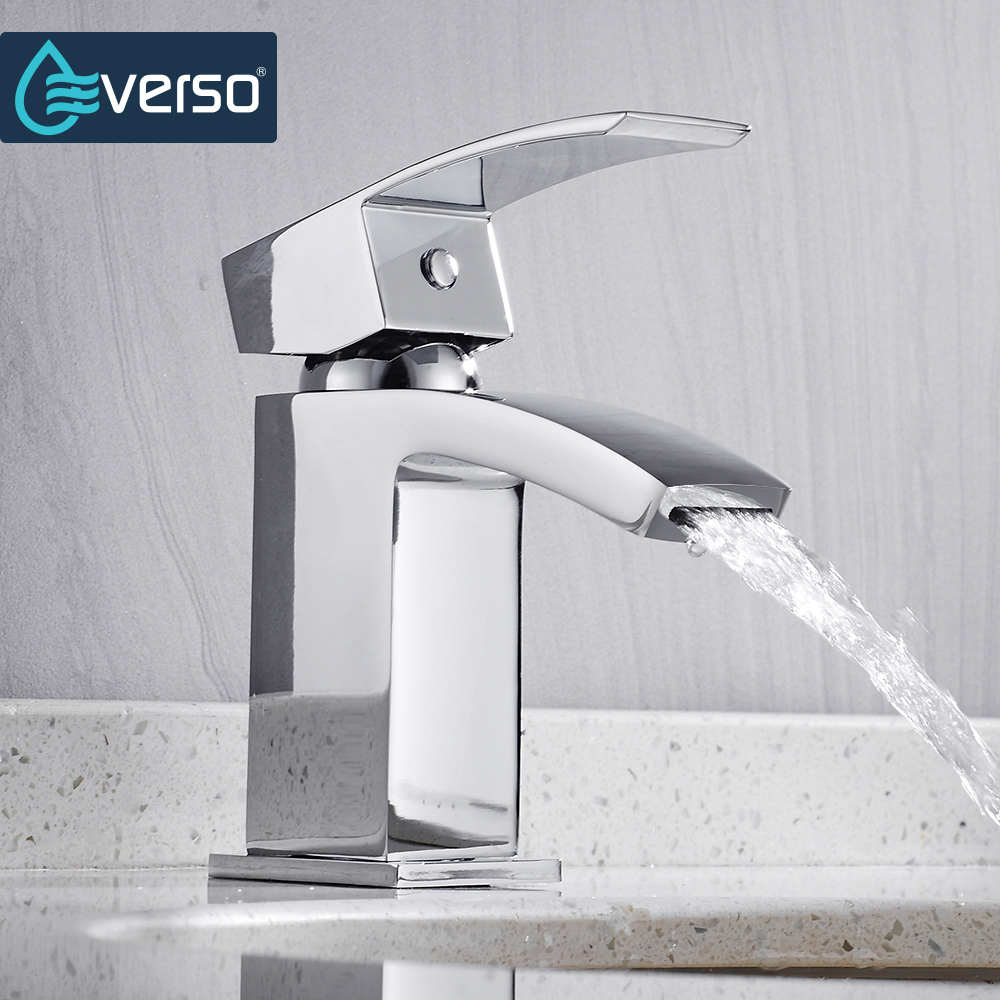 EVERSO Brass Basin Faucet Chrome Waterfall Bathroom Faucet Vanity Vessel Sinks Mixer Tap Cold Hot Water