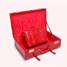 Maleta de viaje LeTrend Retro con ruedas para mujer, bolsa de viaje con contraseña, Maleta roja con ruedas, caja de cosméticos de cabina Vintage