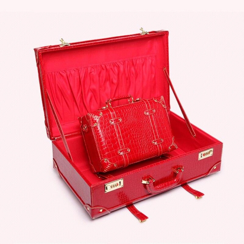 LeTrend rétro bagage roulant femmes mot de passe sac de voyage rouge mariage Trolley valise roues Vintage cabine cosmétique
