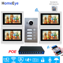 4-Family Door Access Control System 720P 7'' WiFi IP Video Door Phone Video Intercom iOS/Android APP Remote Unlock POE Supported apartment wired video door phone audio visual intercom entry system 6 unit