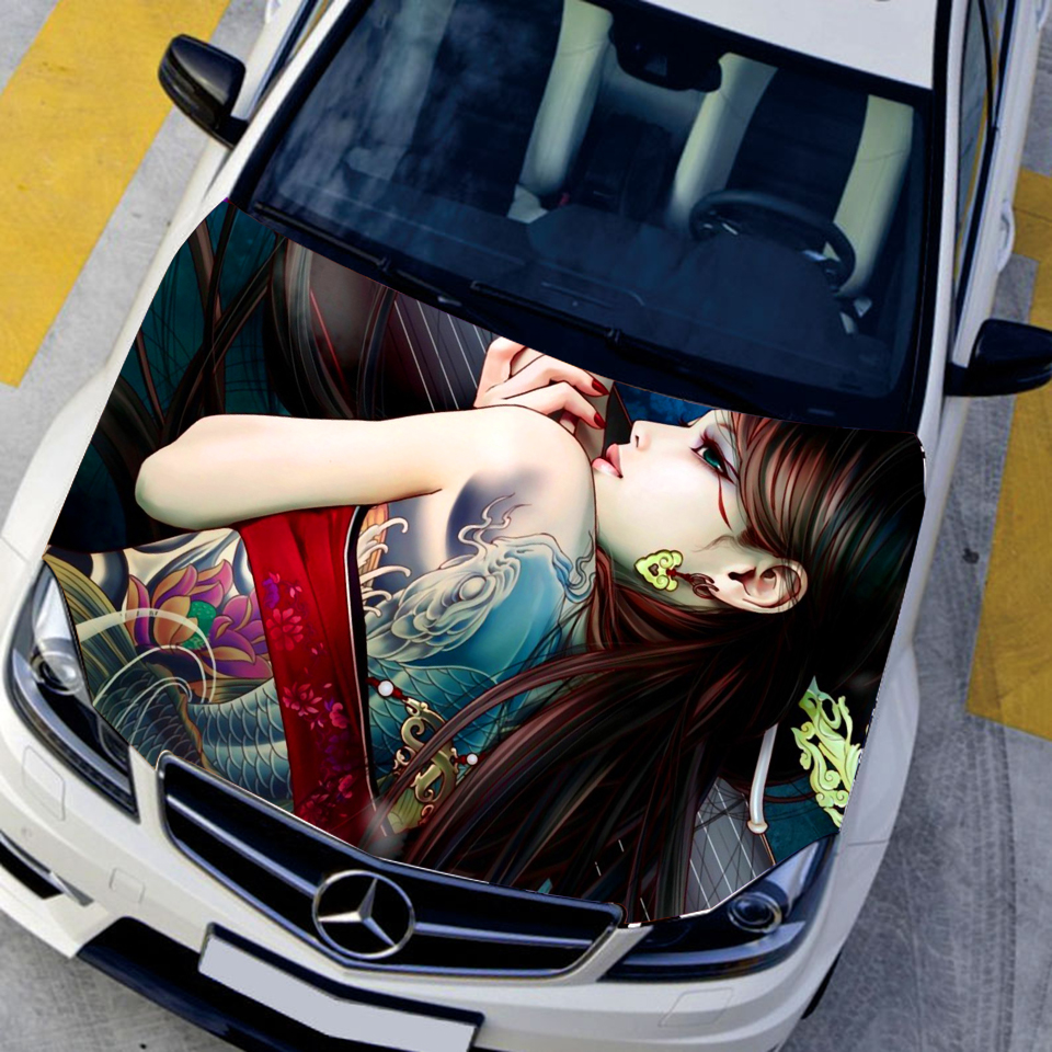 Car stickers design hd - Auto Vinyl Funny Car Stickers Animation Game Tattoo Sexy Girls Car Hood Sticker Hd Waterproof Printing
