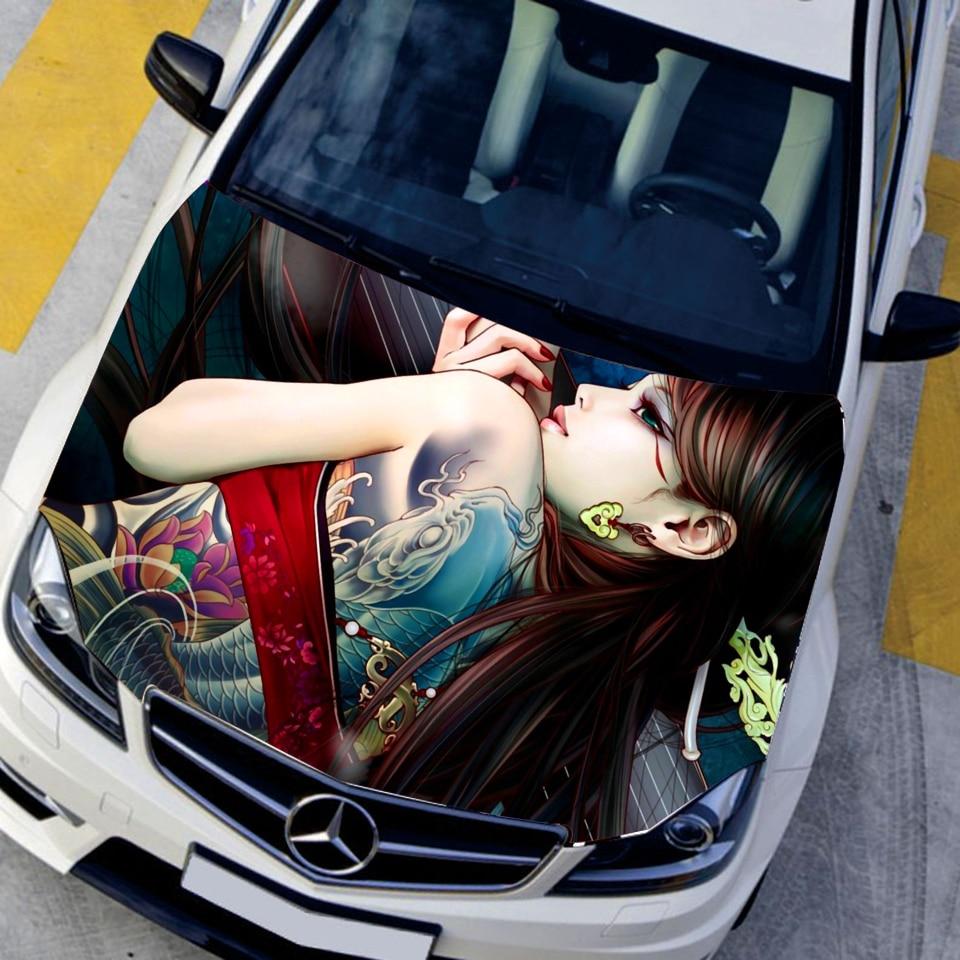 Cool car sticker design - Auto Vinyl Funny Car Stickers Animation Game Tattoo Sexy Girls Car Hood Sticker Hd Waterproof Printing