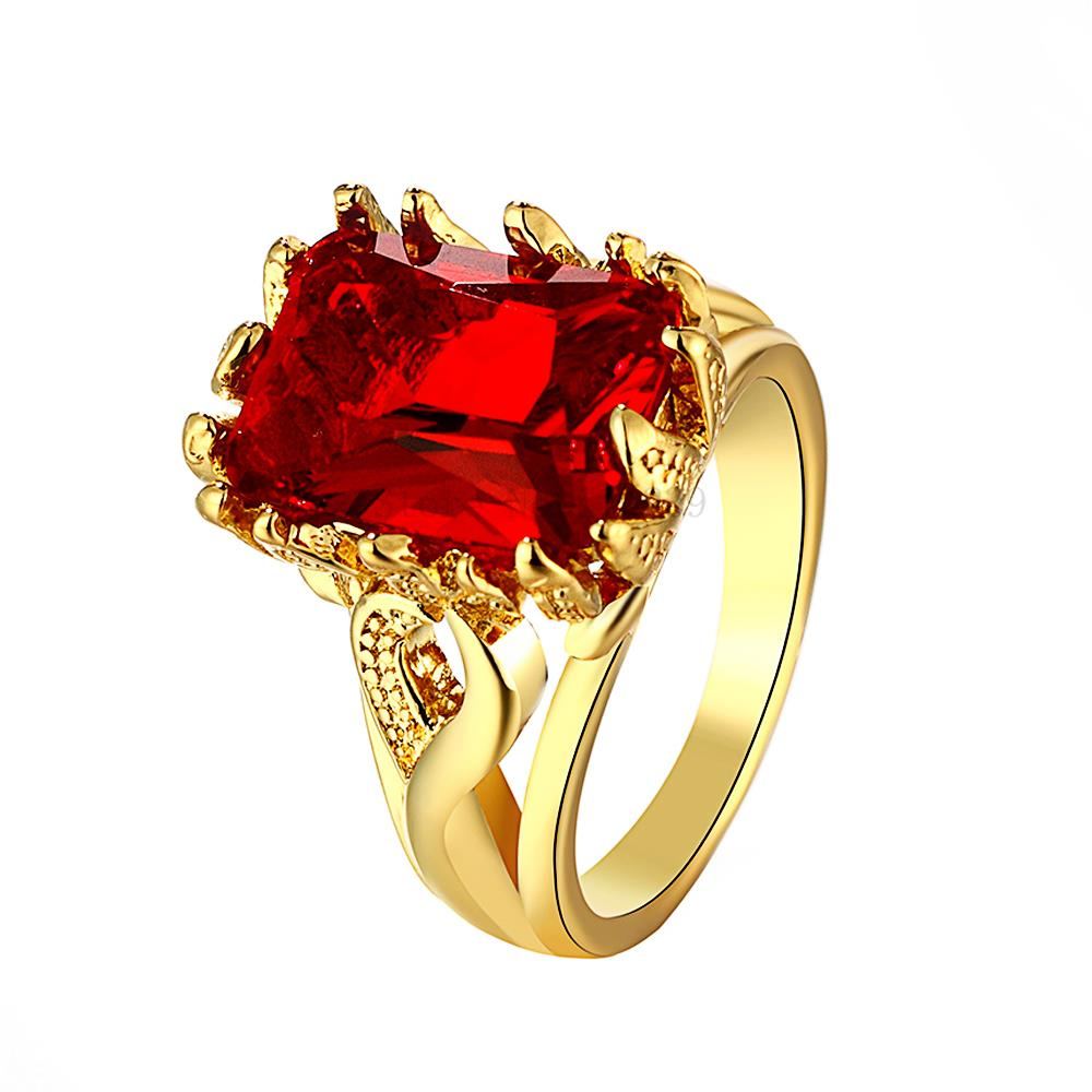 ZR101 A 8 Top Quality Yellow Gold Color Red Zircon Stone Ring ...