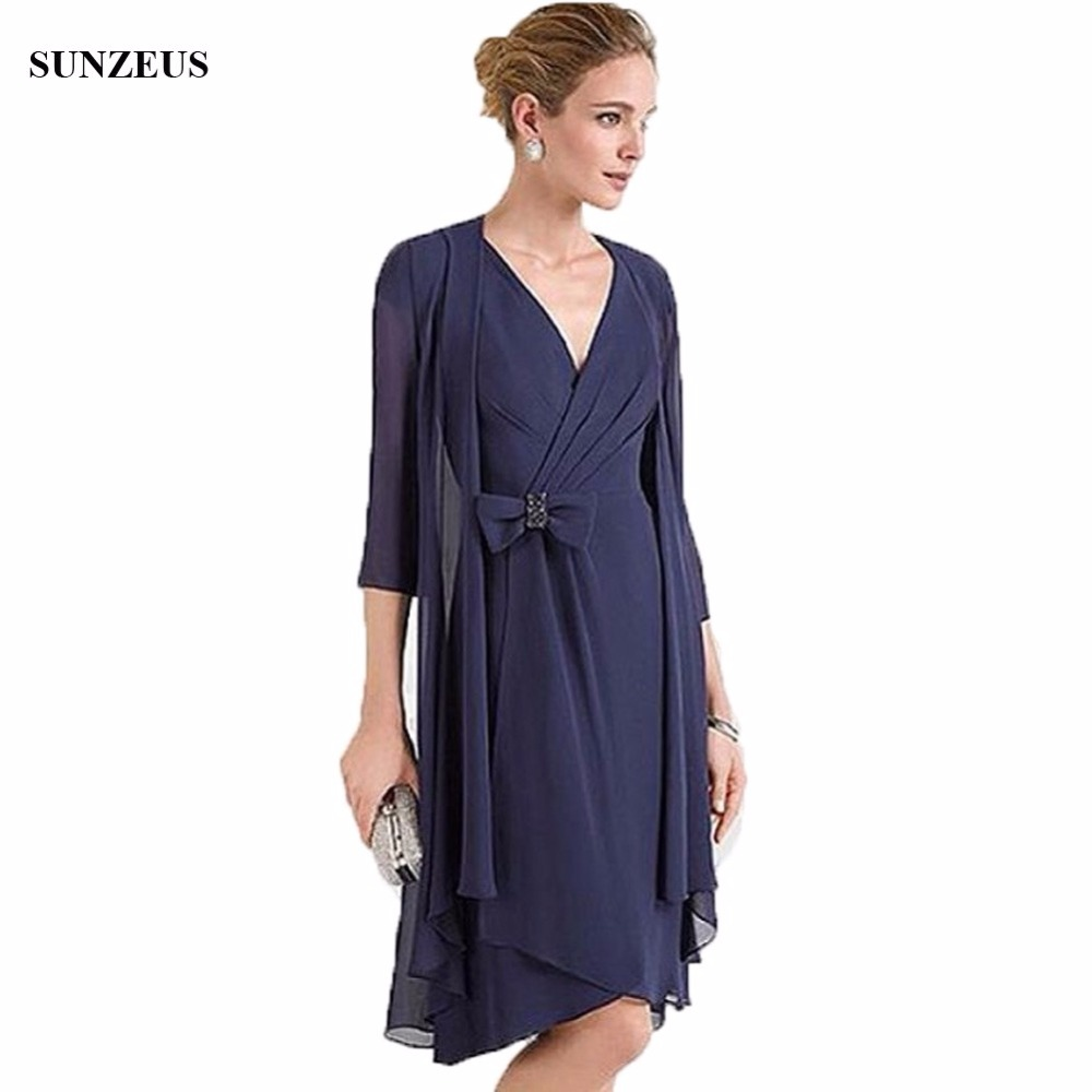Simple Elegant Tea Length Chiffon Cap Sleeve Wedding: Simple Elegant Knee Length Mother Of The Bride Dress With