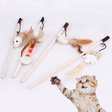 4Pcs/Lot Wooden Cat Toy Mouse/Ball/Fish/Bird Rods Plaything Environmental Funny Pet Cat Toys For Cats Products