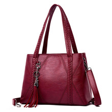 Metal Tassel Women Bags High Quality Soft Genuine Leather Fe