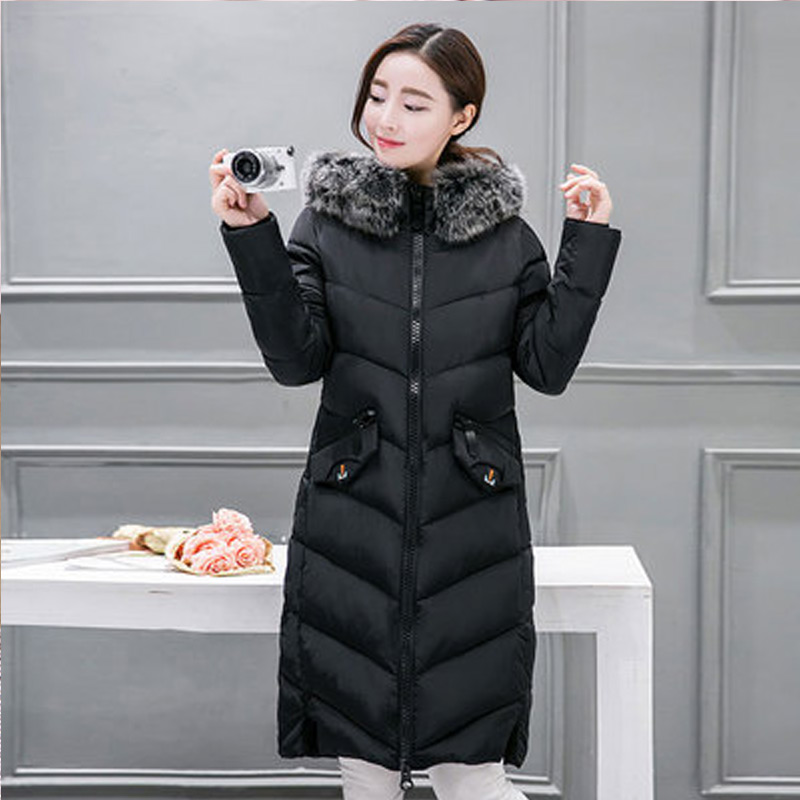 2017 New Winter Jacket Women Fur Collar Hooded Cotton Coat Long Section Thicken Warm Padded Jacket Pockets Parkas Outerwear 2015 winter new medium long nondetachable raccoon fur hooded thicken warm a line women cotton padded jacket coat outerwear wy342