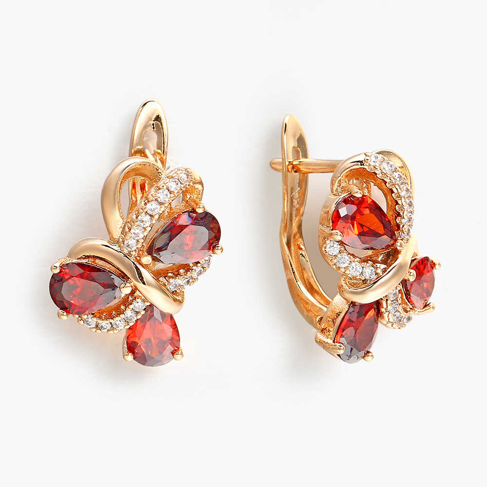 Hanreshe Red Earrings Cute Romantic Jewelry Round Stud Earrings Accessory Women Rose Gold Gift Party Crystal Statement Earrings