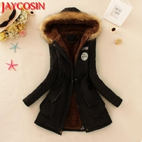 Womens winter Coat With Fur Collar Hooded Jacket Slim Winter Parka Outwear Coats campera mujer artificial fur coat 40pNo25