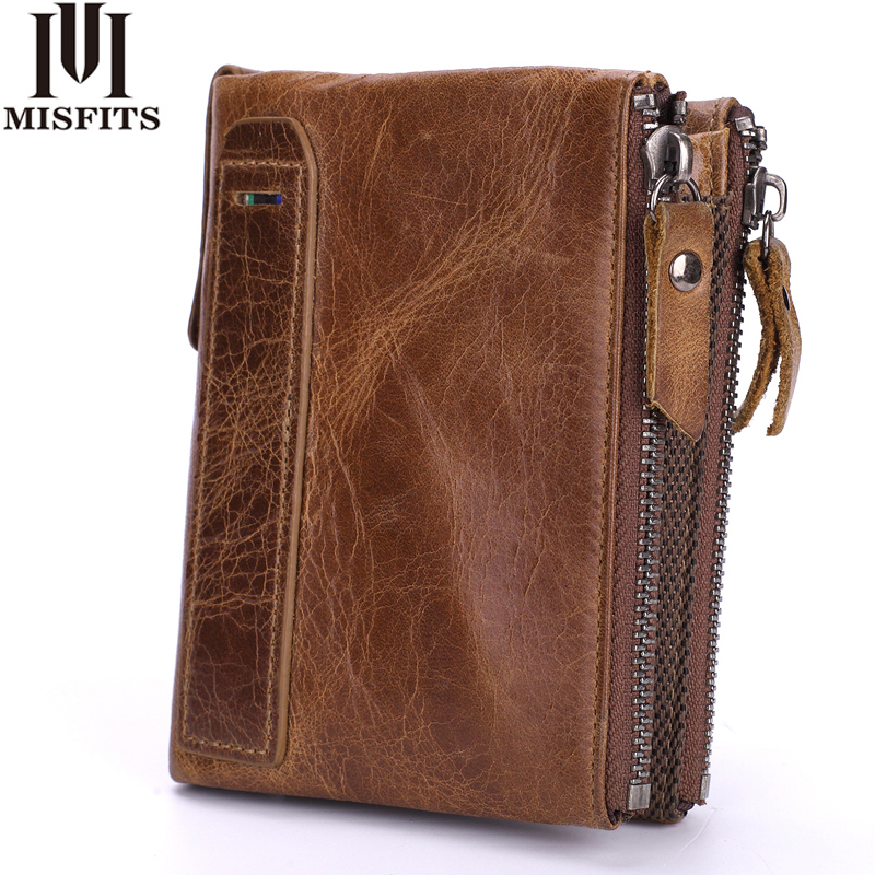 MISFITS Genuine Leather Men Wallets Short Coin Purse Vintage Cowhide Male Double Zipper Small Wallet High Quality Card Holder men wallet cowhide genuine leather purse money clutch vintage zipper card holder coin photo 2017 short designer male wallets
