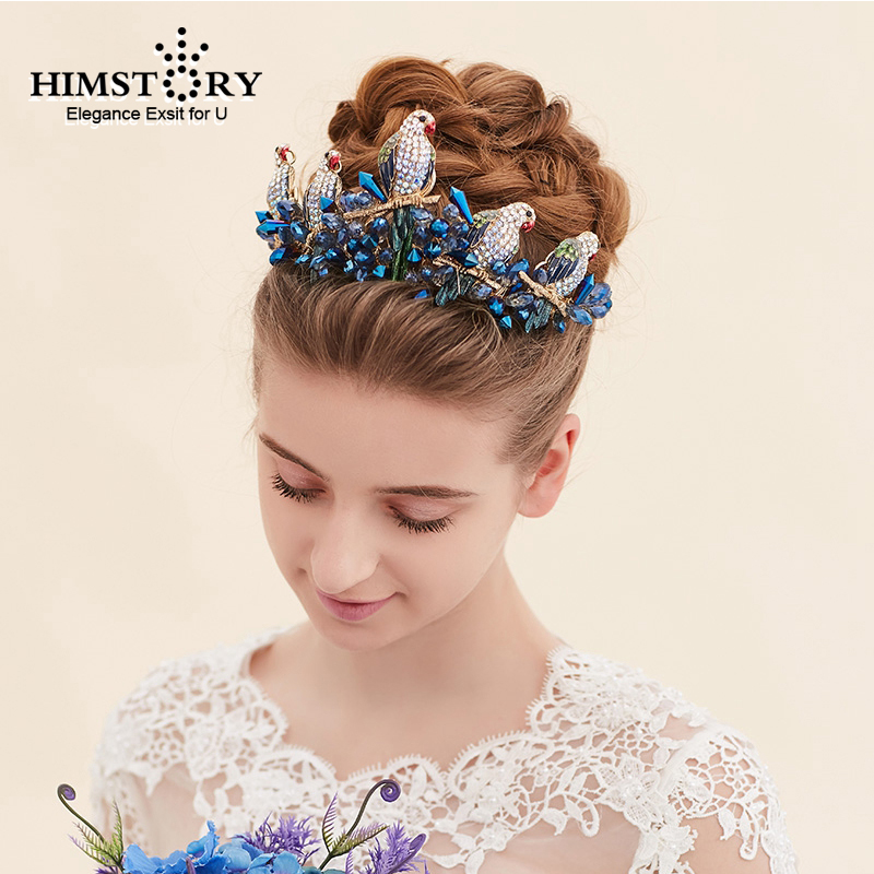 Himstory Lovely Bird Shape Brides HairBand Navy Blue Crystal Handmade BEads Bridal Headbands Wedding Hair Accessoies in Hair Jewelry from Jewelry Accessories