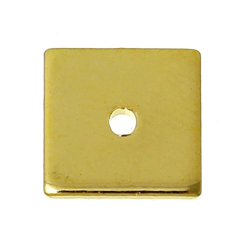 DoreenBeads медные бусины-спейсеры, квадратный золотой цвет, около 8,0 мм (3/8 дюйма) x 8,0 мм (3/8 дюйма), отверстие: около 0,8 мм, 50 шт.