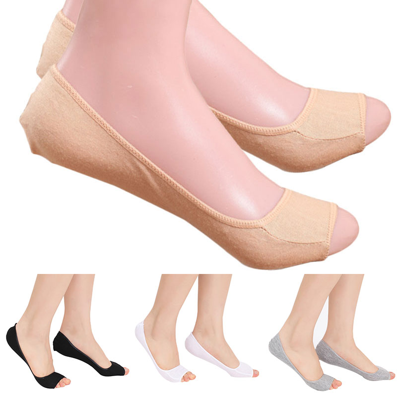 1Pair Lovely Women Modal Elastic Invisible Liner No Show Peds Low Cut Peep Toes Open Toe Socks