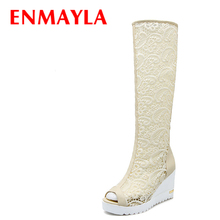 2016 arrival of knee high boots for women hot sale summer fashion motorcycle boots wedges open toe sexy new boots size 34-39 стоимость