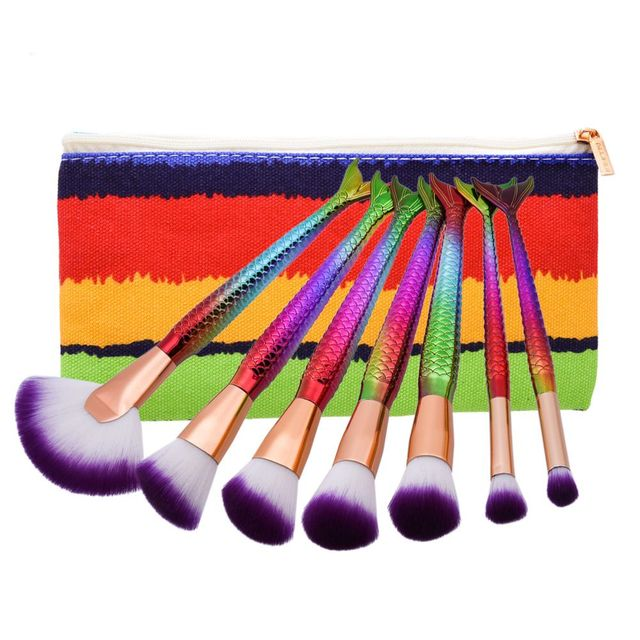 7pcs/set Mermaid Brushes Set Color Eyebrow Blush Foundation Cosmetic Concealer Fish Handle Fan Brush Kit with Makeup Bag Makeup Brushes