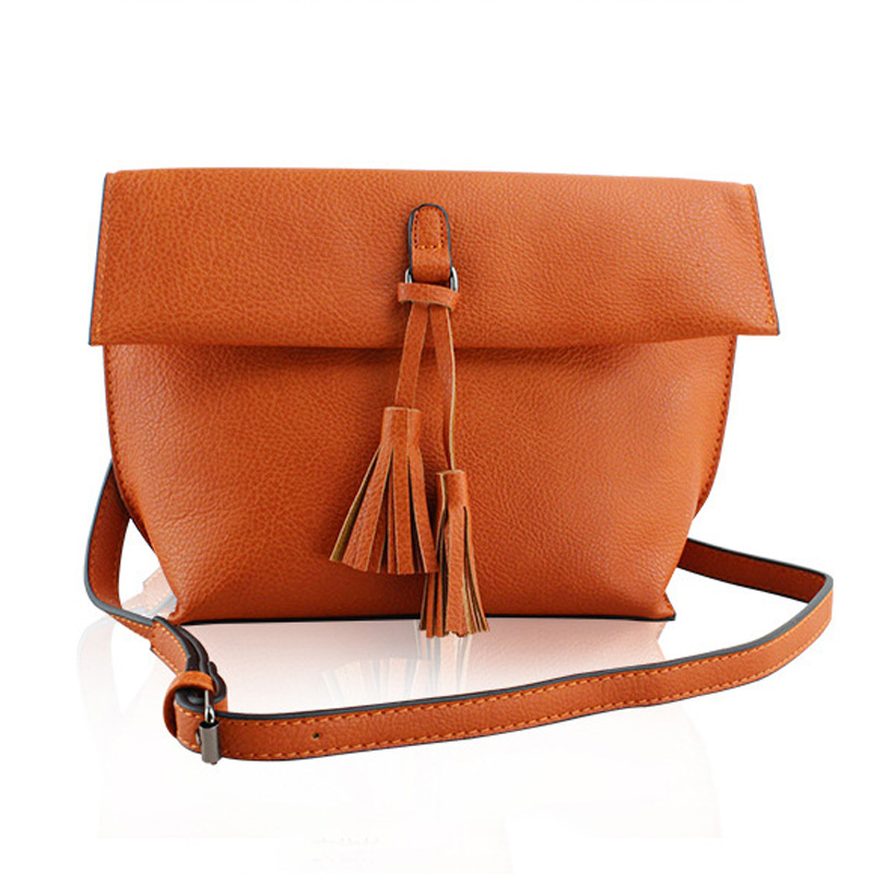 ФОТО 2016 Fashion PU Leather Crossbody Bag for Women Tassel Bag Famous Designer Shoulder Bag Ladies Floded Messenger Bag