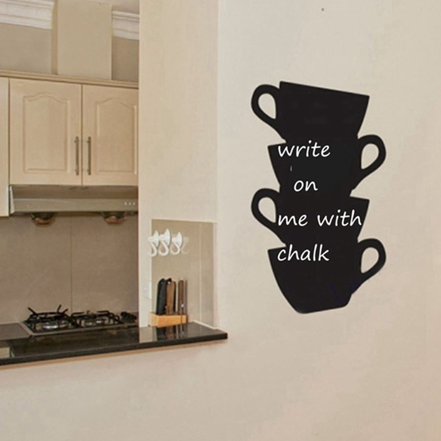 Free Shipping Kitchen Wall Stickers Coffee Home Decor Kitchen Chalkboard Cups Blackboard Vinyl Wall Art Decor Sticker Robot Decorative Vinyl Wall Stickersdecorative Stickers For Walls Aliexpress