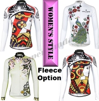 Team Long Cycling Jerseys Female Bike Jersey Women's Long Sleeve Sports Wear Fleece Optional Free Shipping