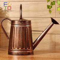 Vintage Watering Cans Flowers Bucket Barrel Bronze Vases Home Gardening Plant Water Retro Metal Craft Artificial Holder