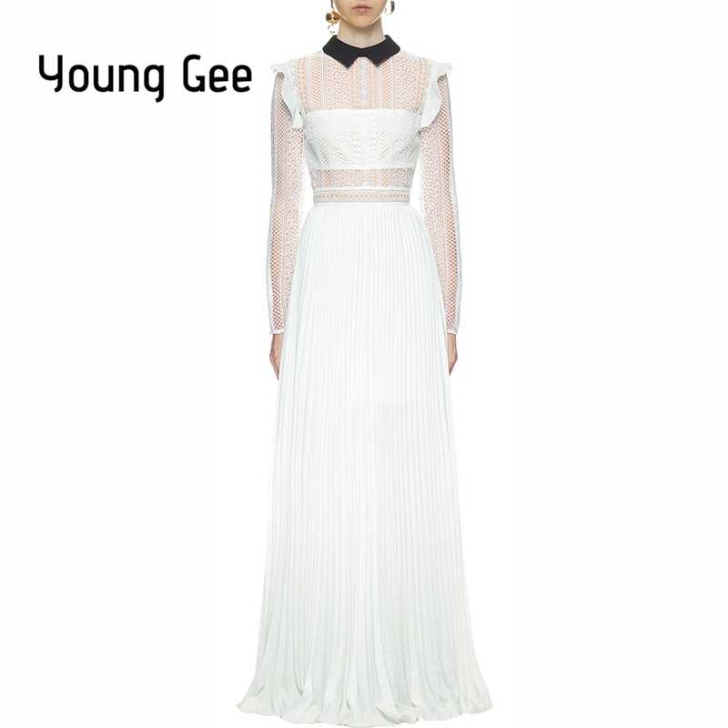 a47ed4288014 Young Gee Sexy Lace Runway Stripe Panelled Maxi Dresses Women Elegant  Evening Party Chiffon Pleated Long