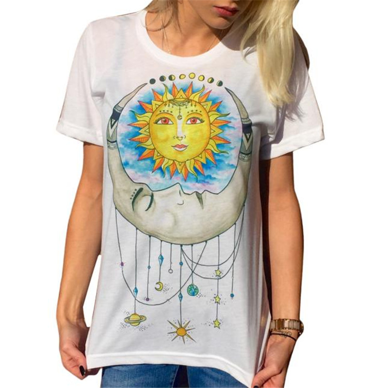 e4a0474b7d4529 Summer Women white Plus Size T Shirts Sun Moon Printed Short Sleeve Funny  Shirts Casual Ulzzang Tops blusas femininas ropa mujer-in T-Shirts from  Women s ...